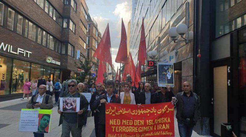 گزارش فعالین حزب کمونیست ایران (م ل م) از تظاهرات در دفاع از کارگران هفت تپه در استکهلم سوئد